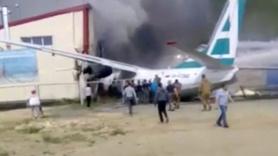 Uçak pistten çıkıp binaya böyle çarptı