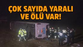 Aksaray'da yolcu otobüsü şarampole yuvarlandı!