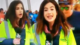 Canlı yayında kadın muhabiri taciz etti!