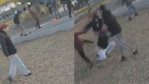 Masum kadına tekme tokat saldırdılar