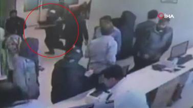 Görevliye tokat attı kaçarken cam kapıya çarptı