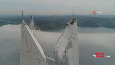 322 metre yükseklikte halatlara bağlı hayatlar