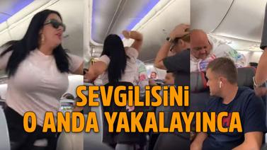 Kıskanç kadın uçağı birbirine kattı