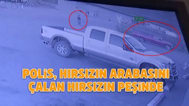 Hırsızlık yaparken arabası çalındı