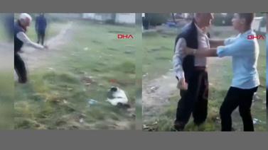 Köpeği taşladı, yetmedi yapma diyen çocuğu taşladı