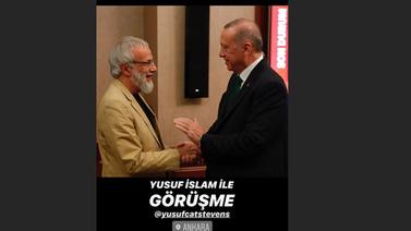 Erdoğan ünlü şarkıcı Yusuf İslam'ı kabul etti
