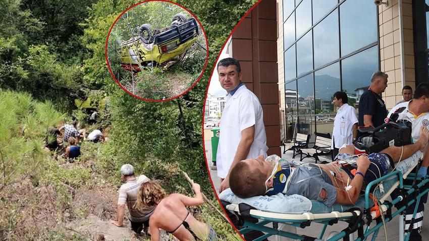 Tur minibüsü şarampole yuvarlandı: 1 ölü, 4'ü ağır 11 yaralı