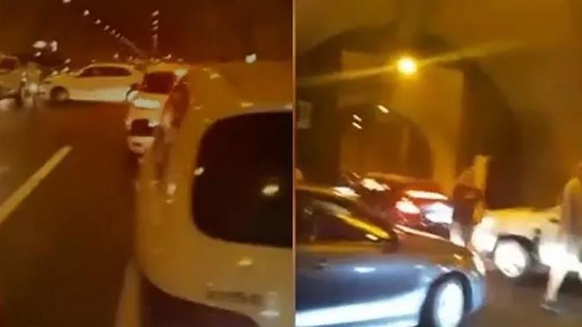 Orhangazi tünelinde bir otomobil birden alev aldı