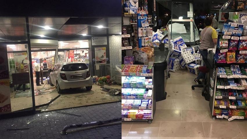 3 yaşındaki çocuk çalıştırdığı araçla markete daldı