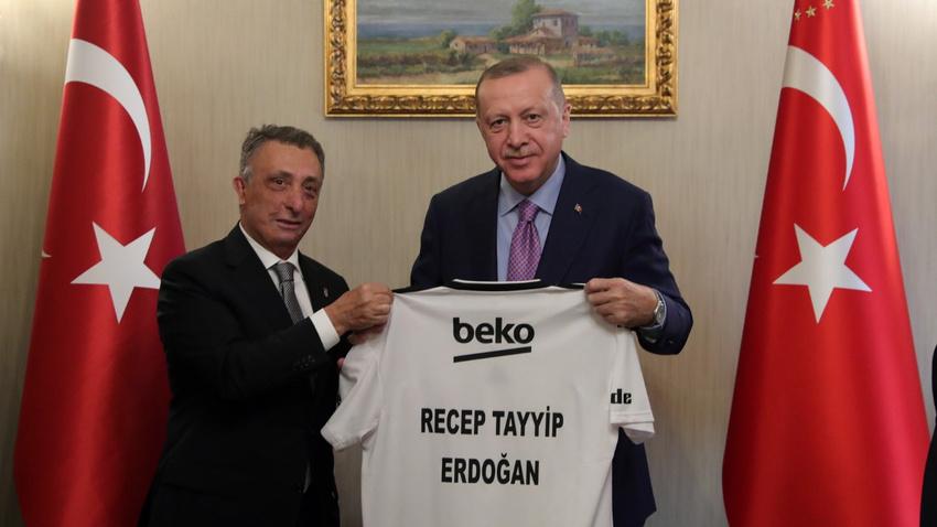 Cumhurbaşkanı Erdoğan Beşiktaş Başkanı Ahmet Nur Çebi'yi kabul etti