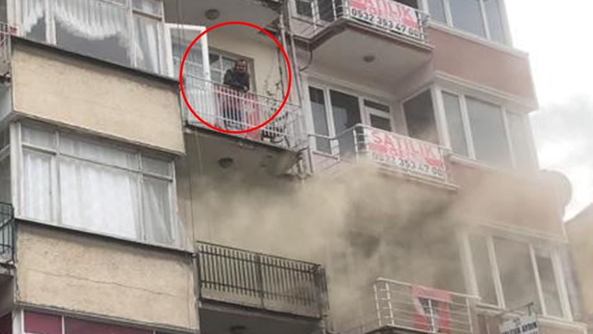 Komşusunun dairesi yanarken film gibi izledi!