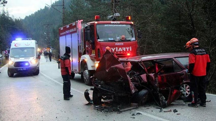 Bolu'da feci kaza: 1 ölü, 2 yaralı