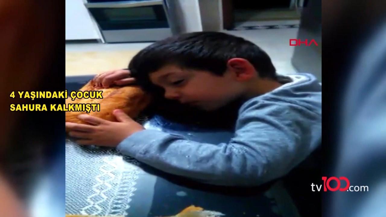 Ekmeğe sarılıp uyudu