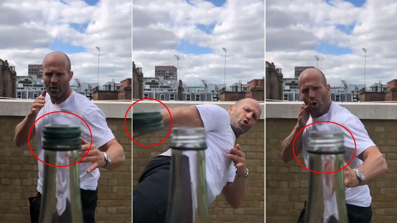 Dünya Jason Statham'ın  #bottlecapchallenge videosunu konuşuyor