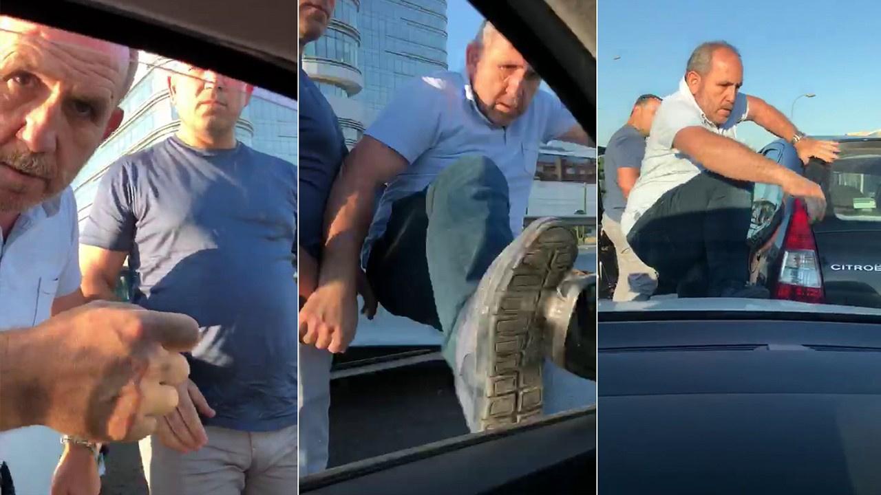 Trafik magandası dehşet saçtı!.. Hamile kadının bulunduğu araca böyle saldırdı!