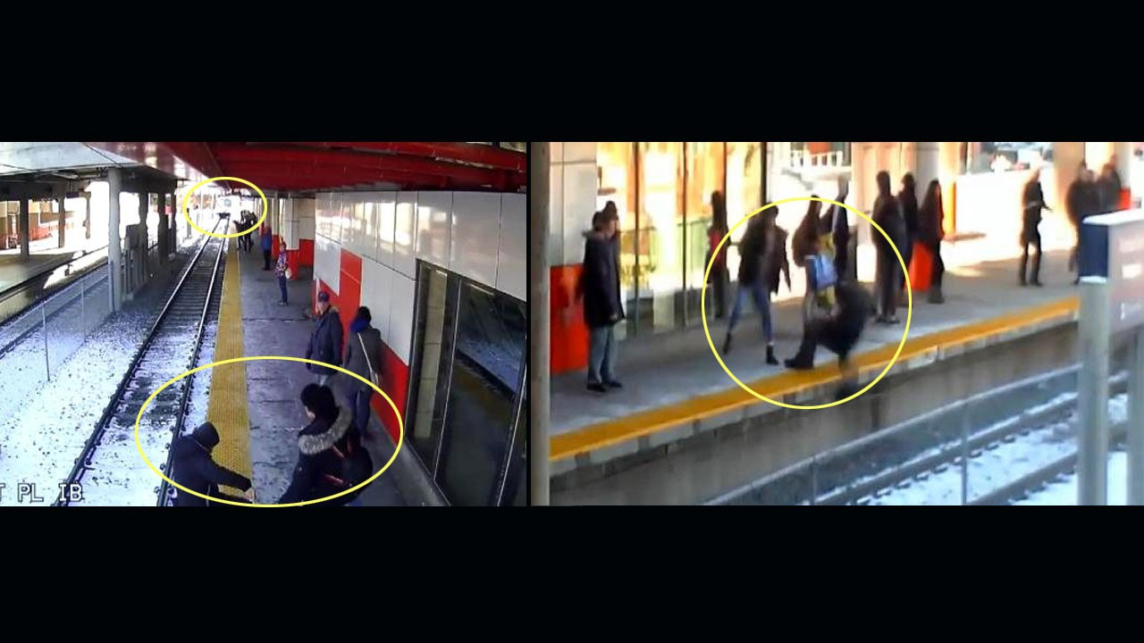 Tren istasyonunda korku dolu anlar! Yaşlı kadını raylara itti!