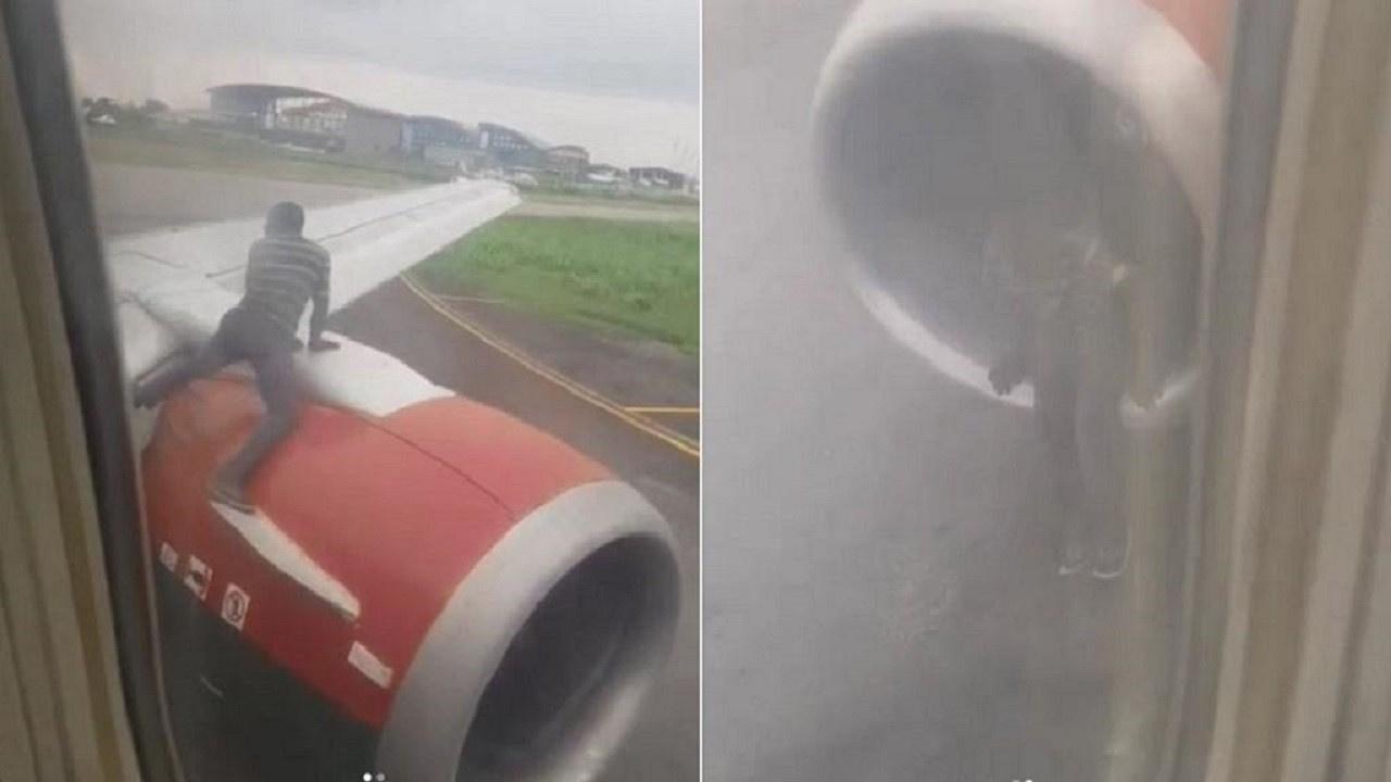 Uçakta panik: Kanatta bir adam var!