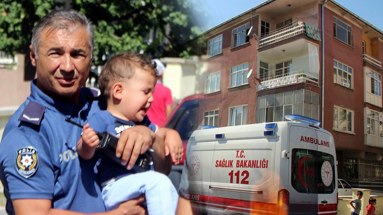 Polis, kilitli çocukları alevlerin arasından aldı