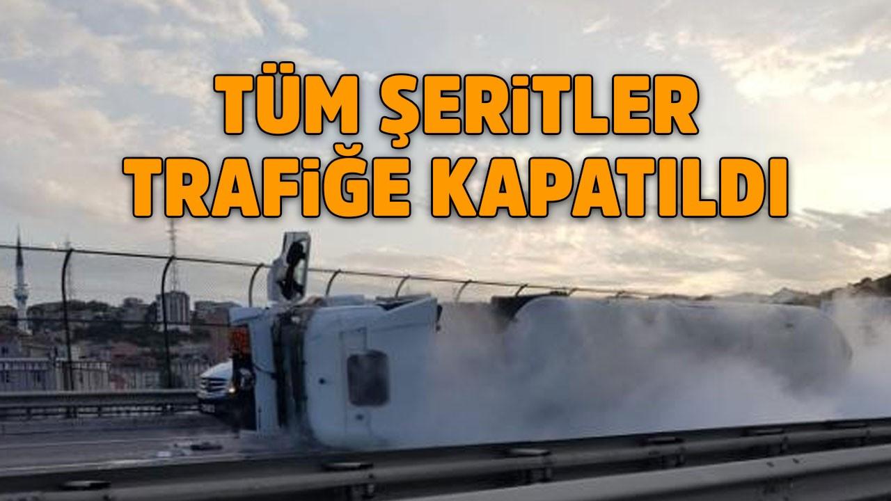 TEM'de tanker devrildi