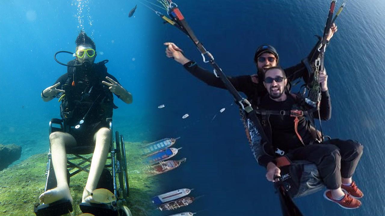 Tekerleklik sandalye ile önce dalış sonra paraşüt!