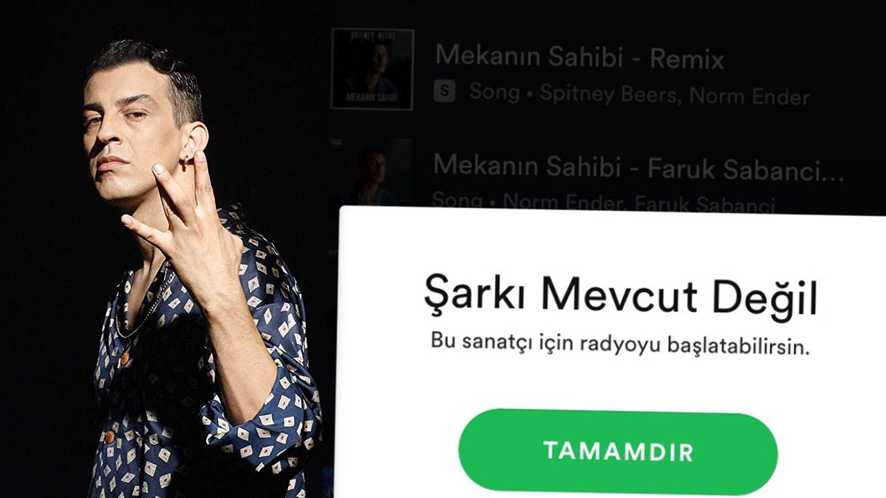 Norm Ender'in şarkısı Spotify'dan kaldırıldı!