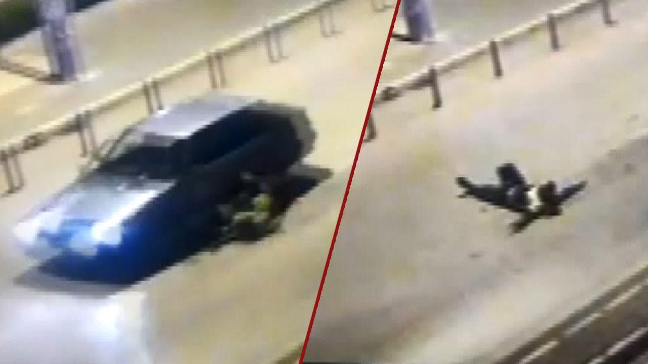 Pes dedirten görüntü! Polisi 400 metre sürükledi