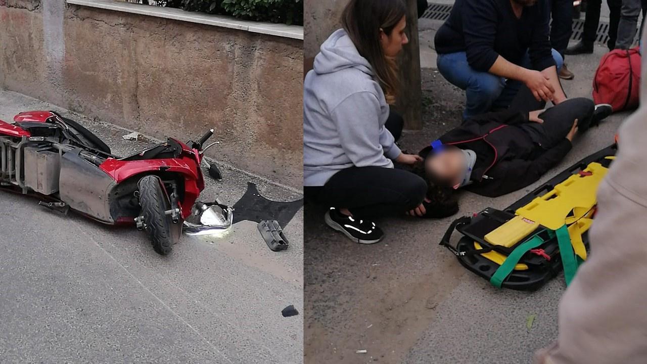 Otomobille elektrikli bisiklet çarpıştı: 2 yaralı