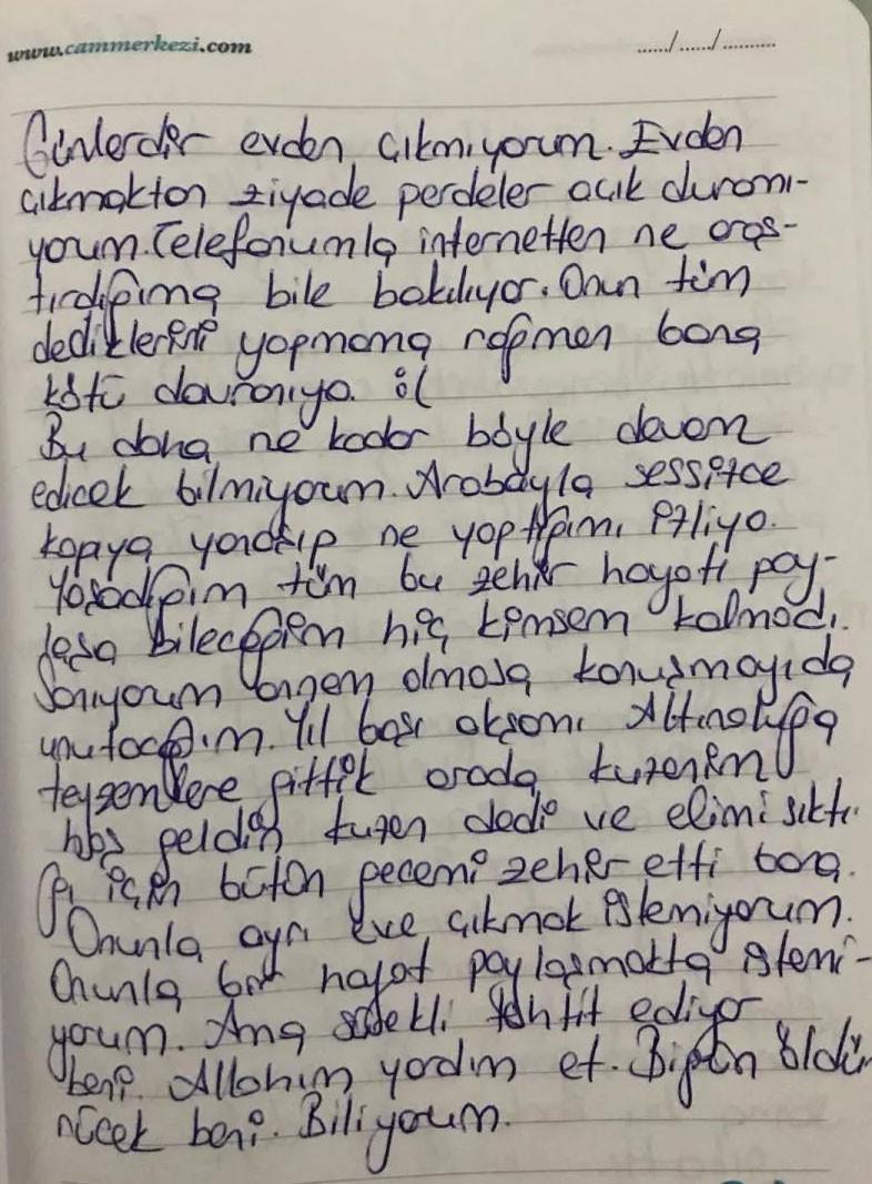 Ceyda Malay, yaşadıklarını tuttuğu günlüğe yazmış.