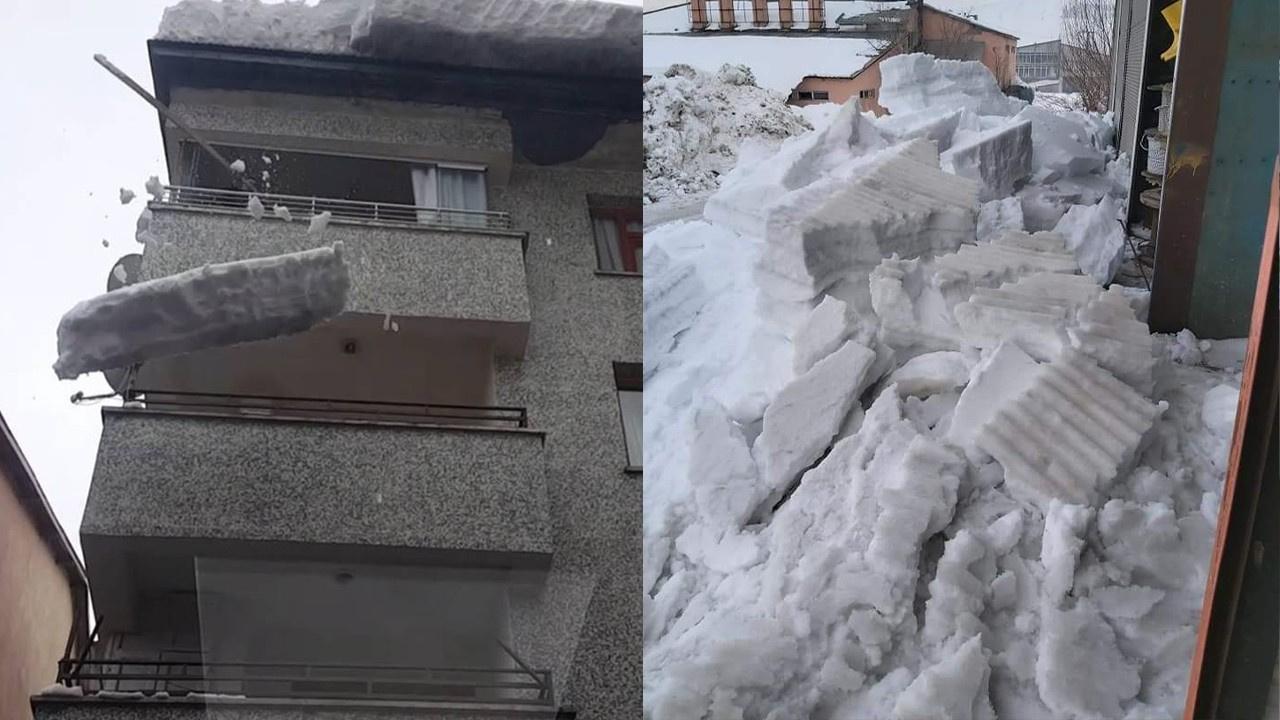 Kar kütlesinin altında kalmaktan son anda kurtuldu