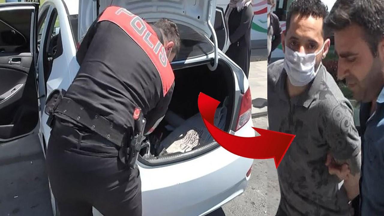 Sevgilisinin otomobilinin bagajında yakalandı