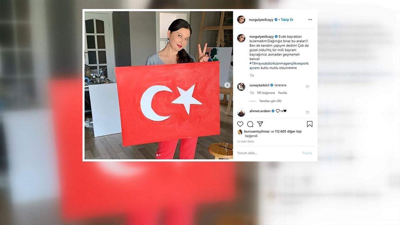 Nurgül Yeşilçay bayrağını kendisi yaptı
