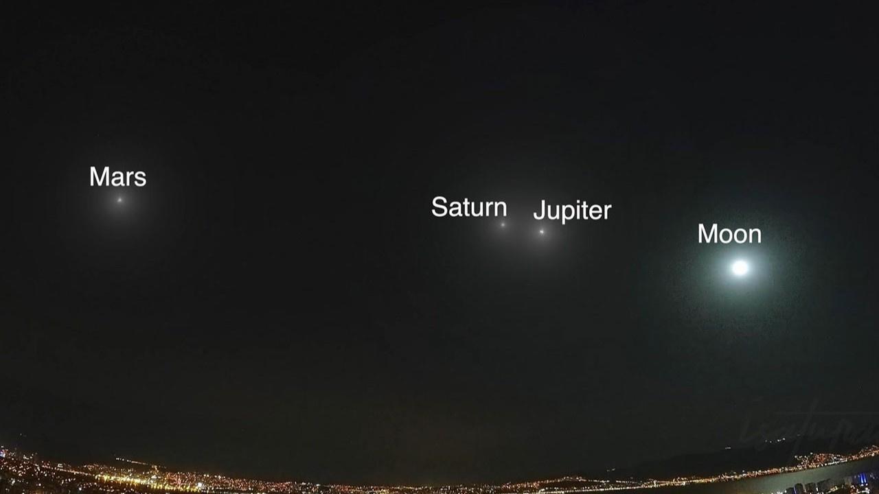 Ay, Jüpiter, Satürn ve Mars'ın muhteşem görüntüsü