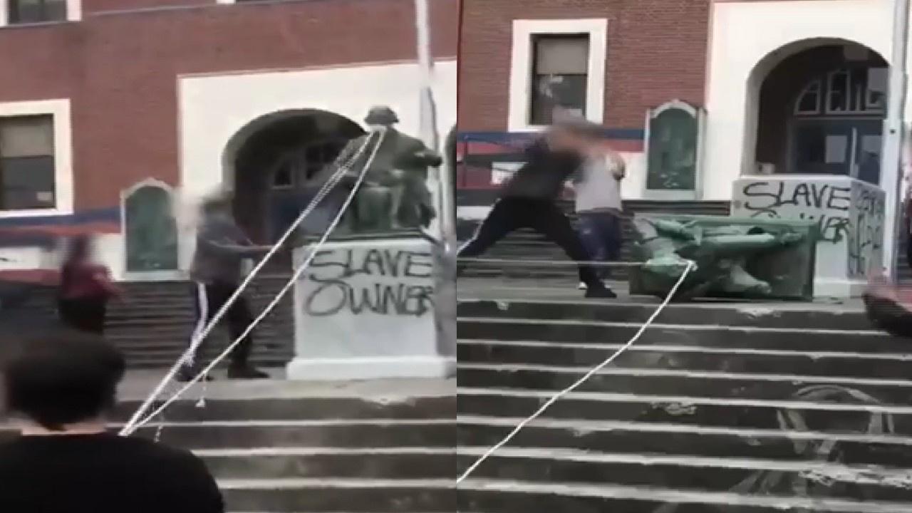 Eski Başkan Jefferson'ın heykeline saldırı
