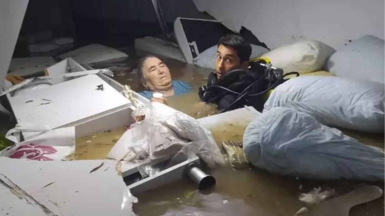 Adana'dan engelli kadın hastanede su altında kaldı