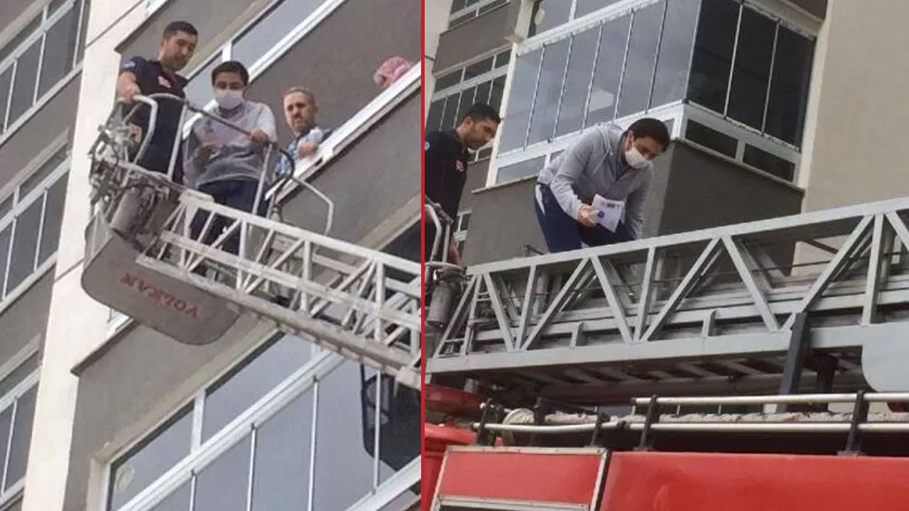 Sınava itfaiye merdiveniyle yetişti