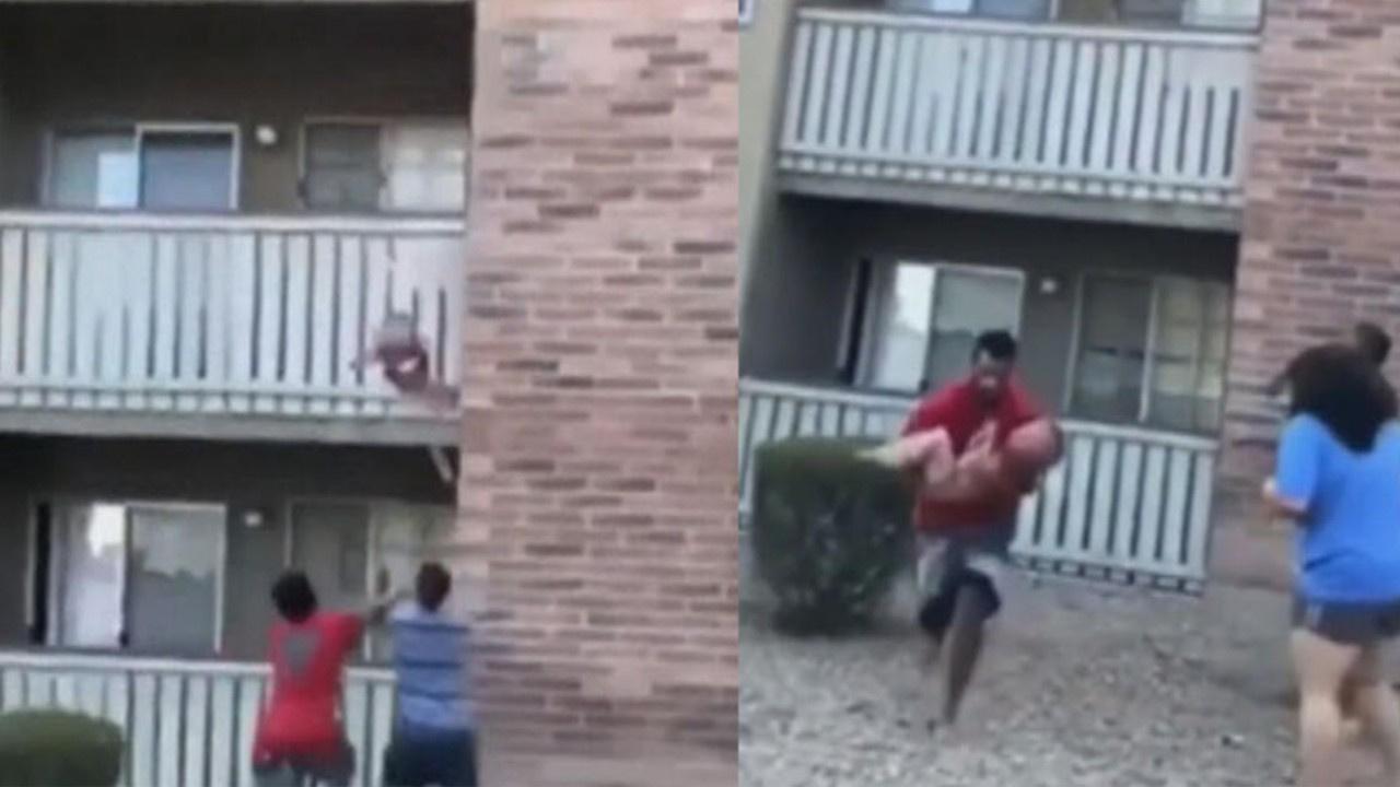 3. kattan düşen çocuğu böyle kurtardı
