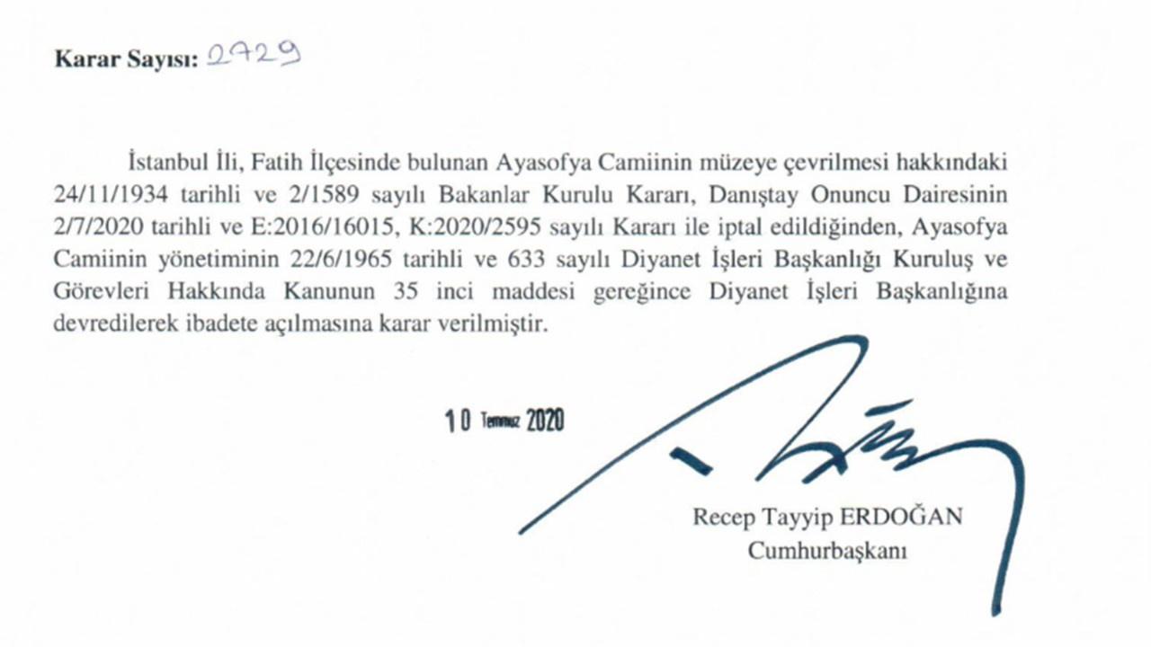 Cumhurbaşkanı Erdoğan'dan Ayasofya kararnamesi