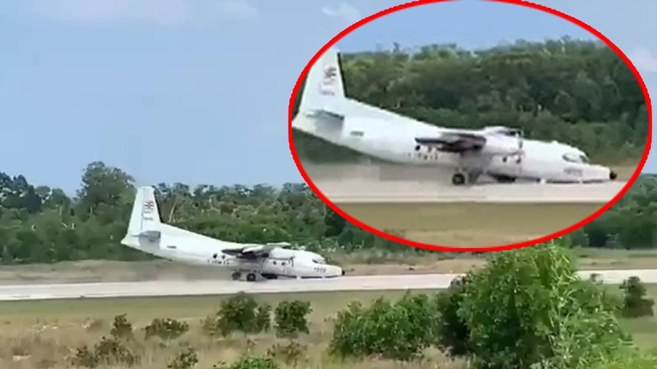 Askeri uçak burun üstü acil iniş yaptı