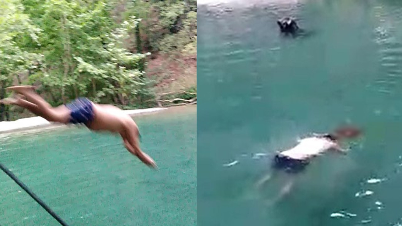 Havuza atlarken kafasını taşa vurdu