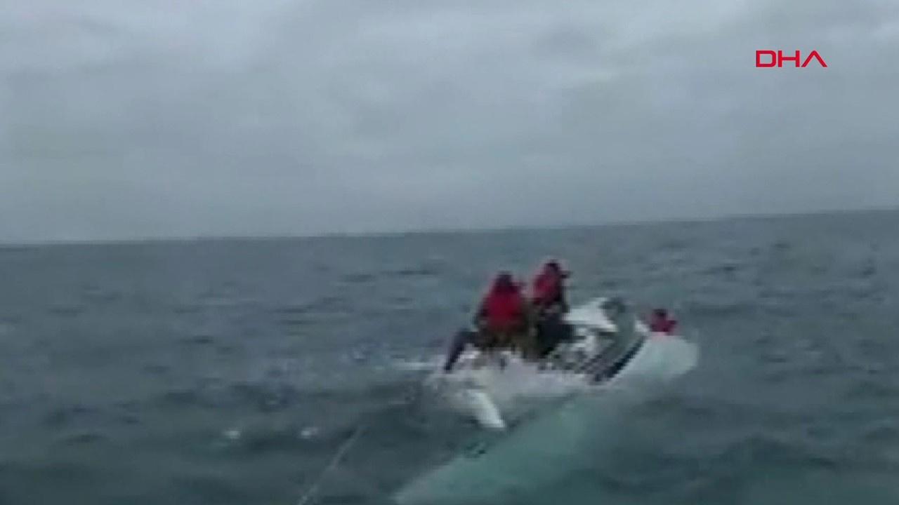 Alabora olan teknedeki 5 kişi böyle kurtarıldı