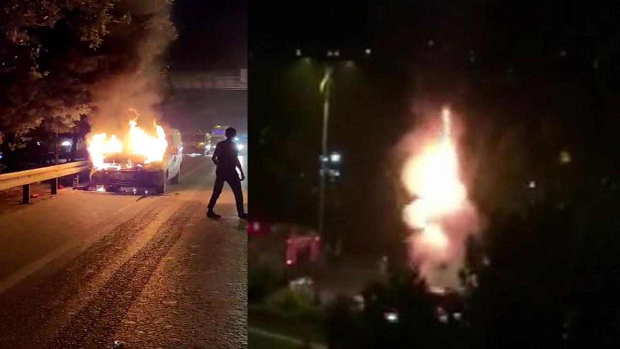 TEM'de araç yandı, alevler metrelerce yükseldi