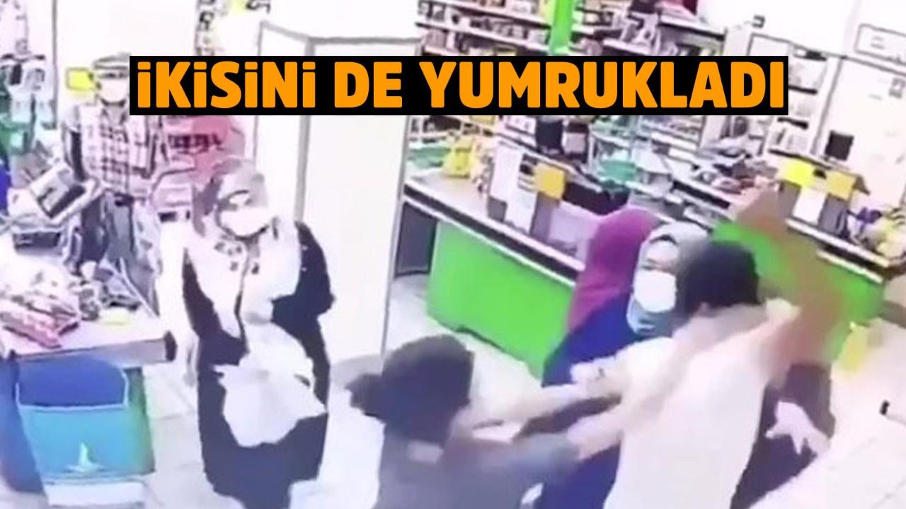 Marketteki kadın çalışanlara şok saldırı