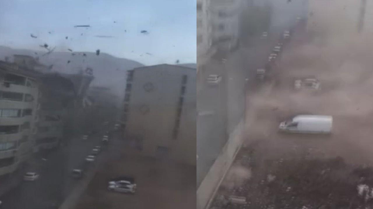 Fırtınada kopan çatı araçların üzerine böyle uçtu