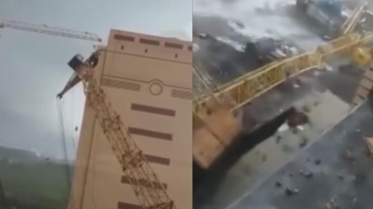 İki inşaat vinci binaların üzerine böyle düştü