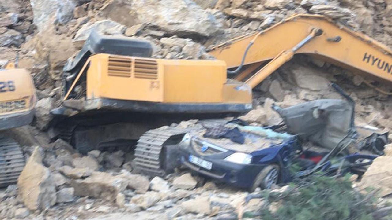 Otomobilinin üzerine kaya düşen bekçi öldü