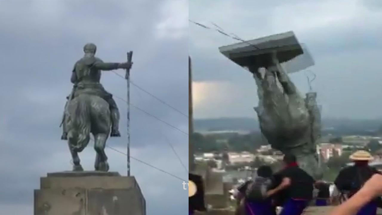 İspanyol subayın heykeli yıkıldı
