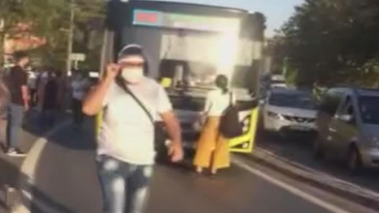 Otobüse binemedi, önünü kesti!