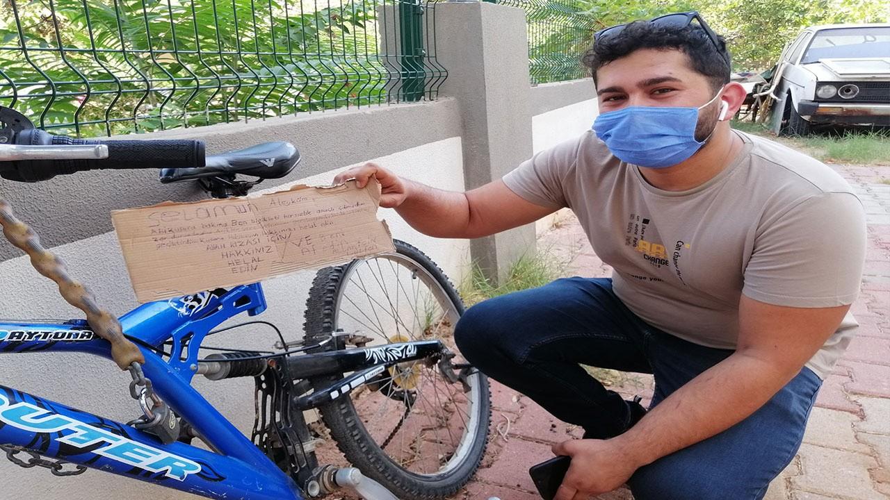Bisiklet hırsızından ilginç not!