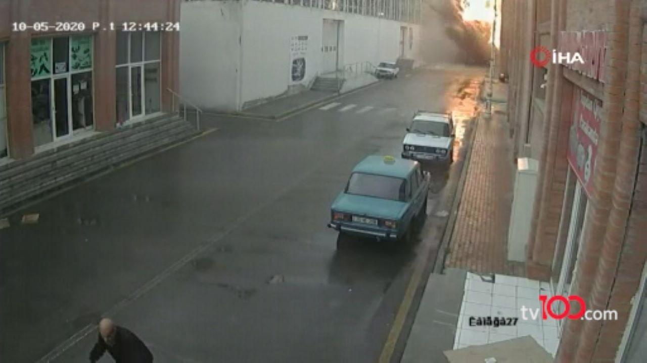 Gence'de AVM'ye roketin düştüğü anın görüntüleri