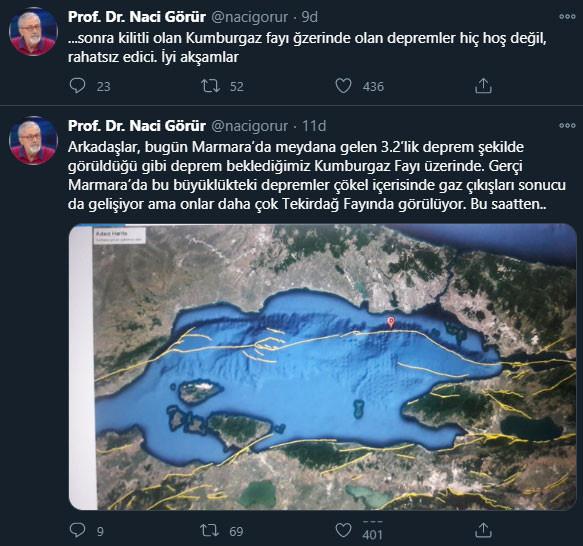 Prf. Dr. Naci Görür'ün Twitter'dan paylaştığı açıklama